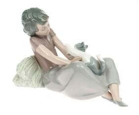 Porcelain figure 'Girl with the cat', Lladro, Spain