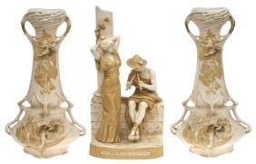 Art Nouveau style vases (3 pcs.), Royal Dux Bohemia