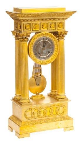 Guilded bronze mantel clock, France