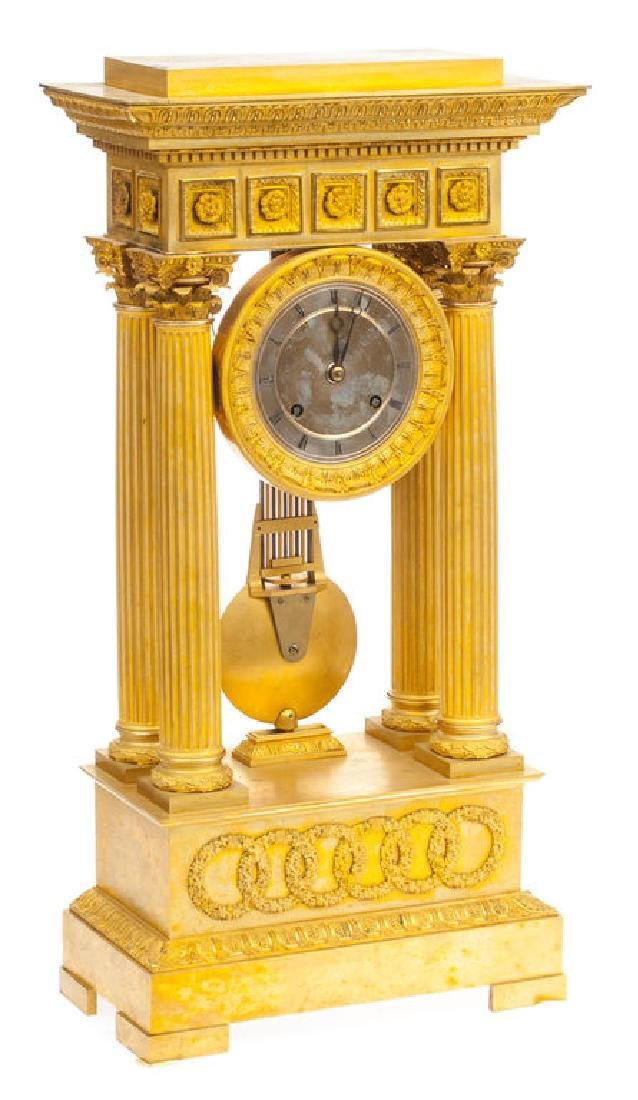 Guilded bronze mantel clock, France