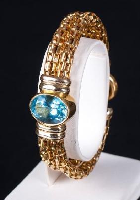 Gold bracelet with topaz, Defino, 21st century