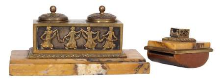 Set of writing tools - inkstand, ink drained