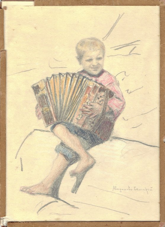 Boy with accordion, Nikolajs Bogdanovs Belskis