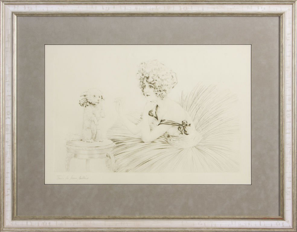 "Engraving ""Ballerina with dog"", Unknow author"