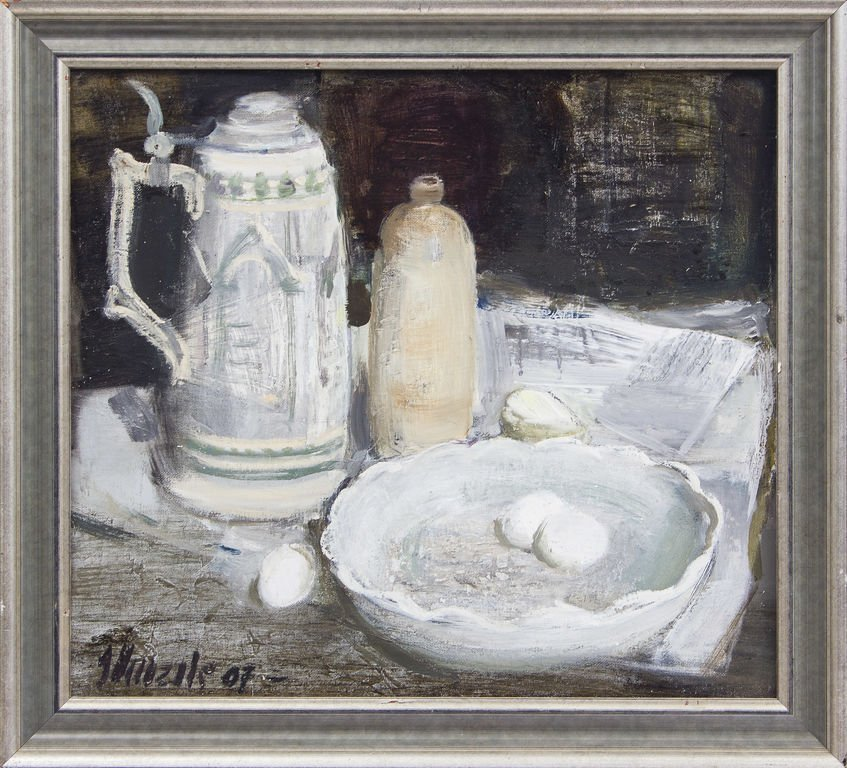 Still life with dishes, Imants Vecozols