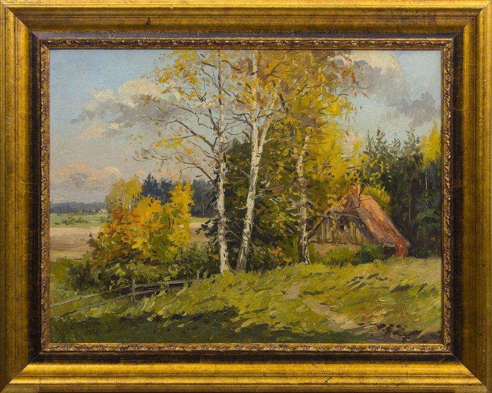 Farmstead in autumn, Edgars Vinters