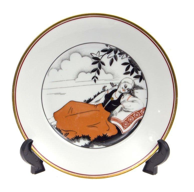 """Porcelain plate """"Girl in a folk costume"""" Kuznetsov"""