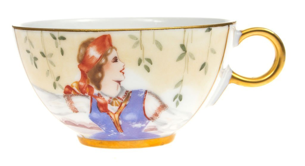 "Porcelain cup with ""Girl in a folk costume"""
