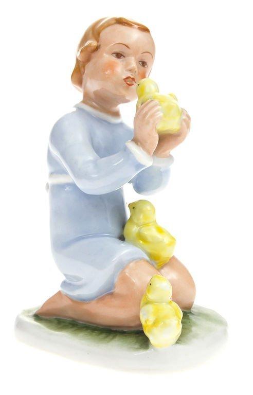 "Porcelain figurine ""Kid with chickens""1941-1947 Latvia"