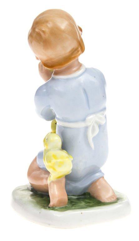 "Porcelain figurine ""Kid with chickens""1941-1947 Latvia - 3"