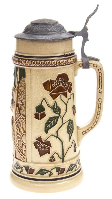 Faience beer cup with metal finish - 2