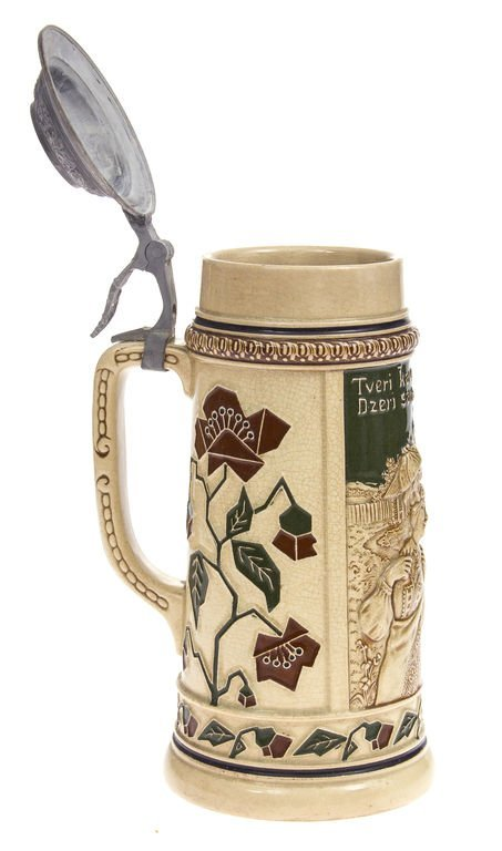 Faience beer cup with metal finish - 3