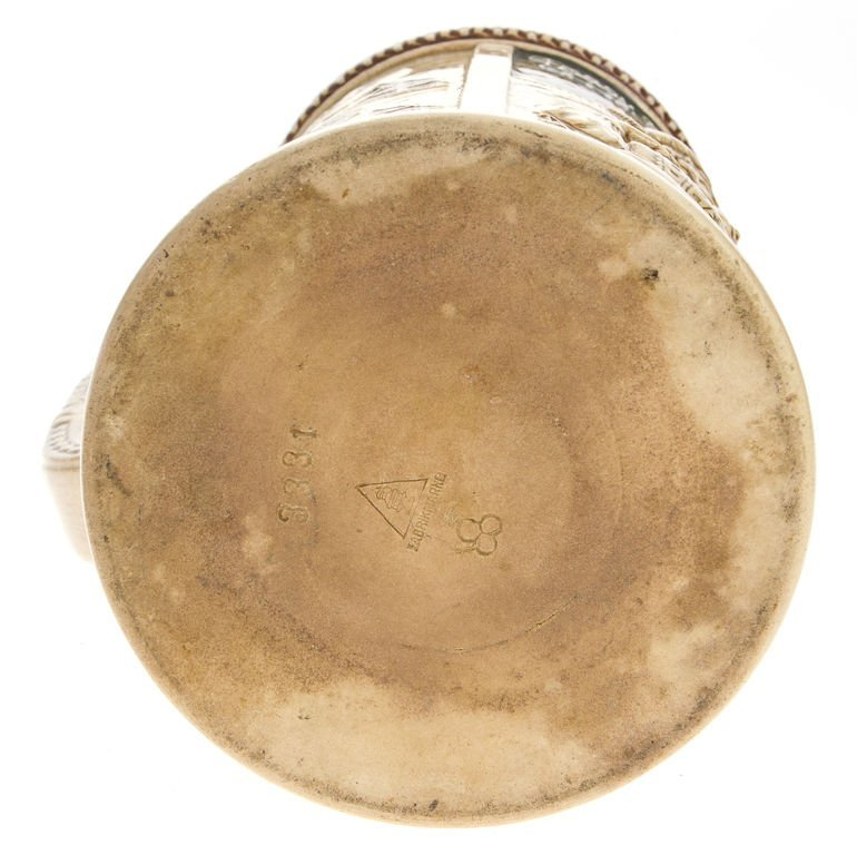Faience beer cup with metal finish - 4