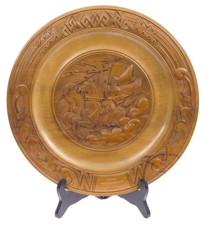 """Wooden plate """"Thunder"""", Visvaldis Reinholds"""