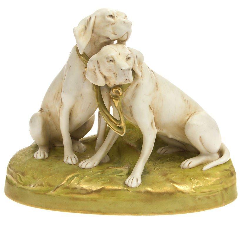 "Porcelain figure ""Hounds"" Royal dux Bohemia"