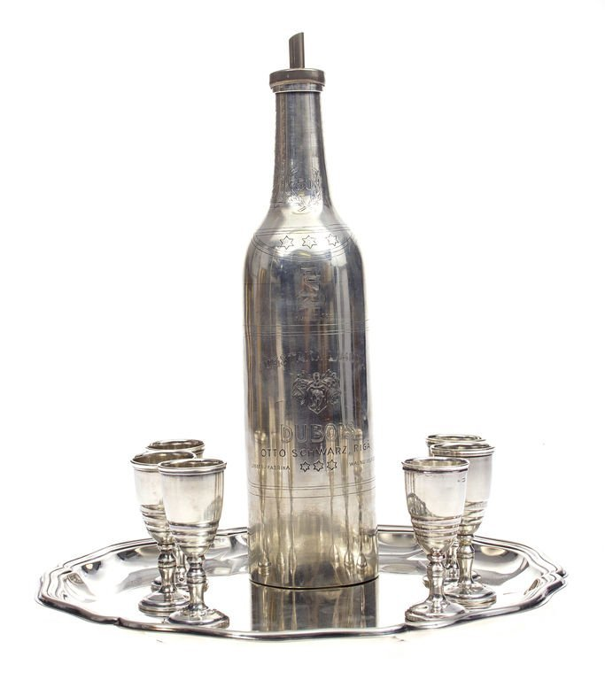 Silver cognac set - bottle, tray,6 cups 20th century 30