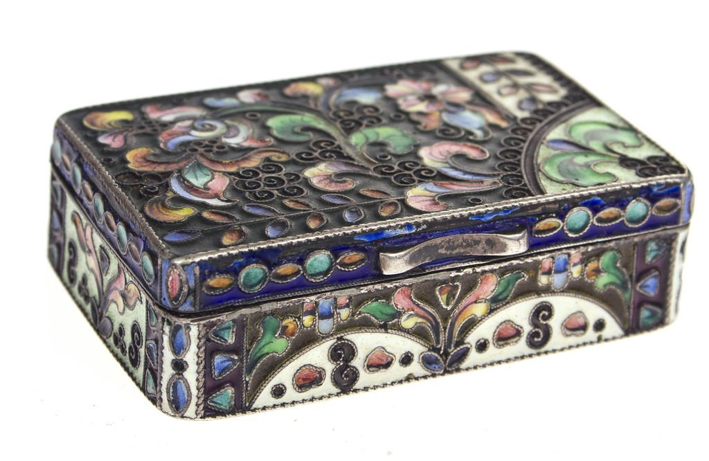 Silver chest with multi color enamel Russia