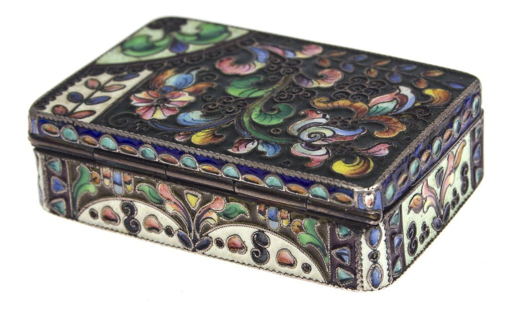 Silver chest with multi color enamel Russia - 2
