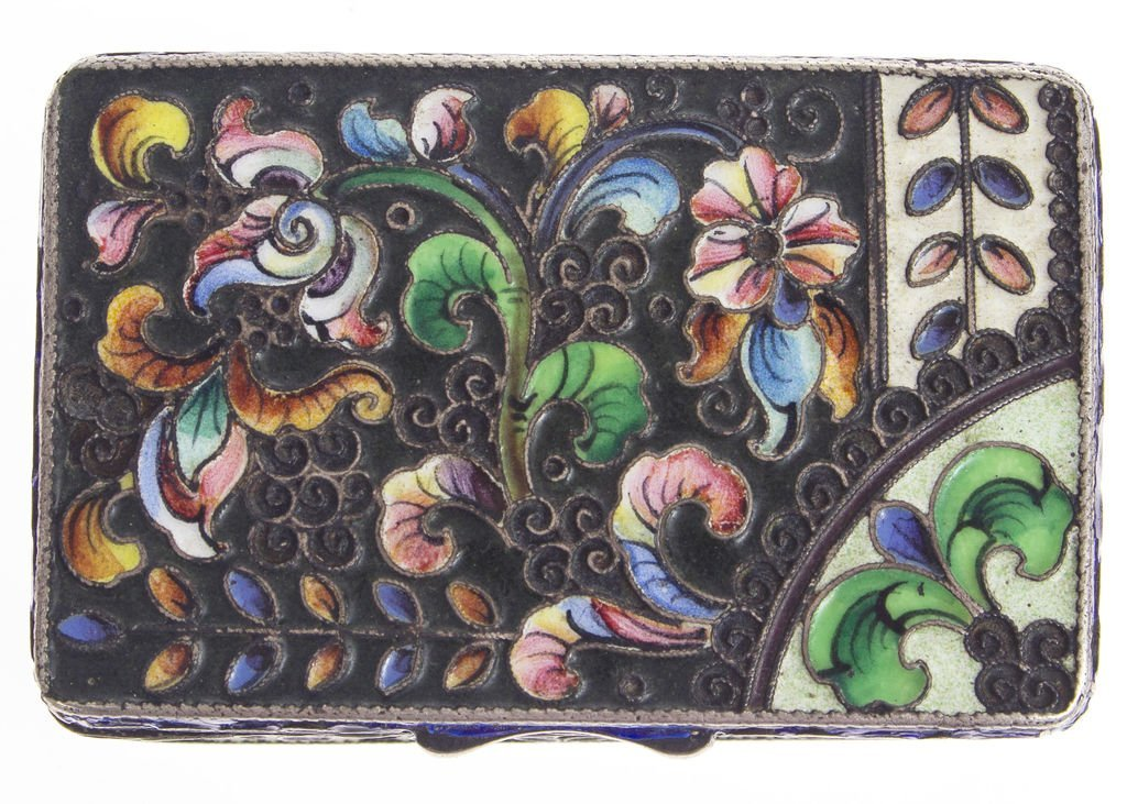 Silver chest with multi color enamel Russia - 3