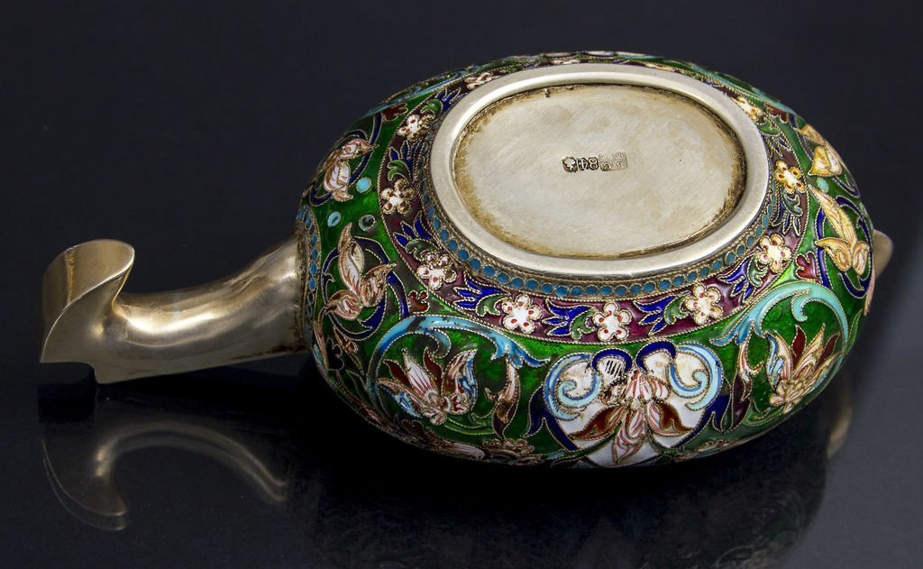 Silver cup with with multi-color enamel 1884 Russia - 3