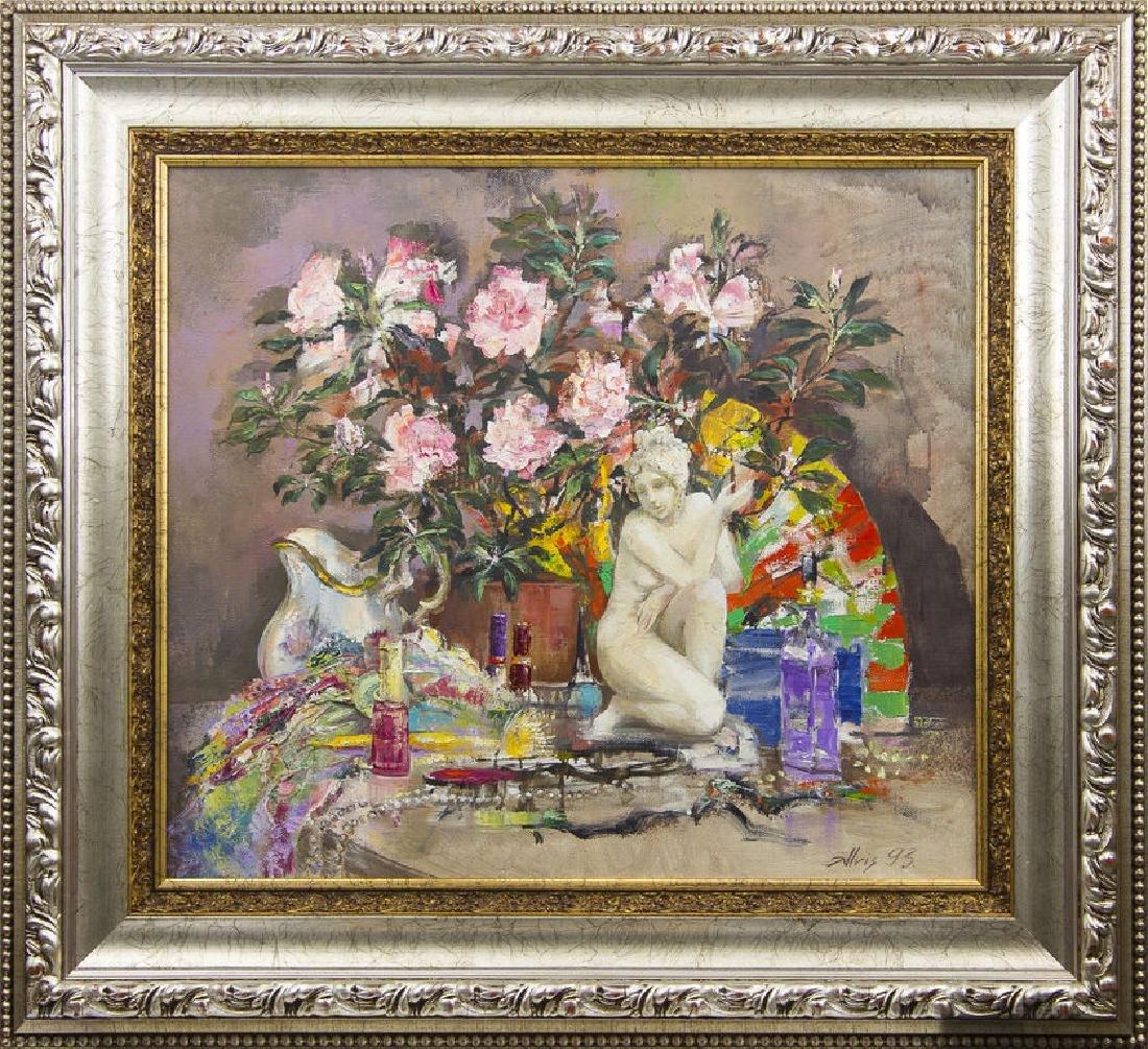 Still life with model and azaleas, Alvis Zemzaris