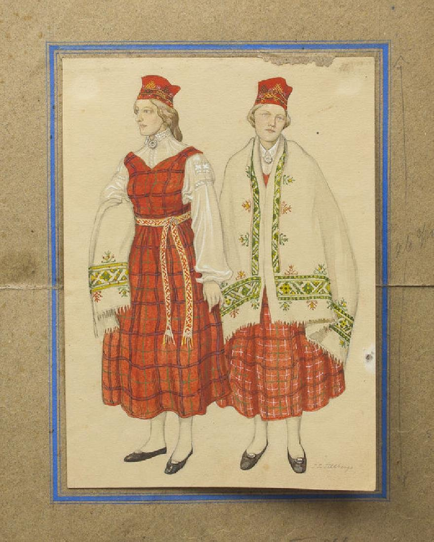 Girls in folk costumes, Janis Roberts Tilbergs
