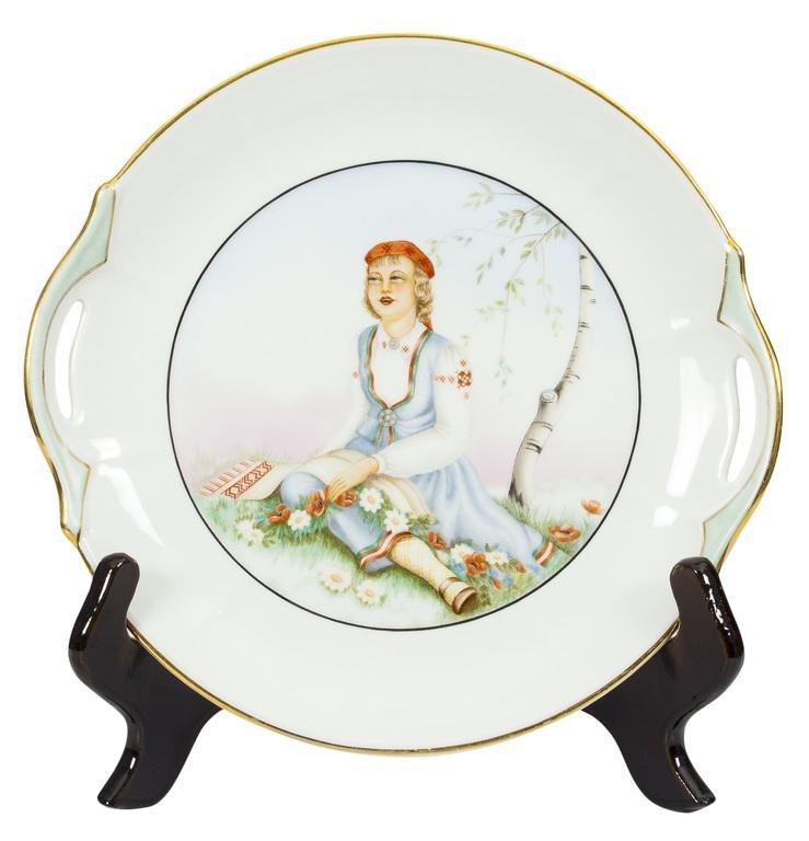 "Porcelain plate by Tamara Meija""Girl in a folk costume"""
