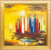 Oil painting Yachts by Herberts Ernests Silins