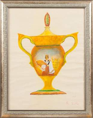 Sketch for vase; Romans Suta (1896-1944)