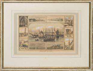 Lithography with ancient views of Riga