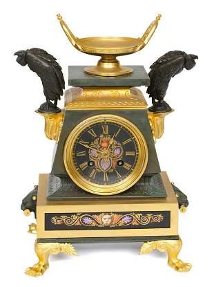"French gilded bronze mantel clock ""Deniere Paris"""