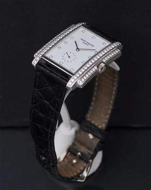 """Gold watch with diamonds and leather strap """"Patek"""