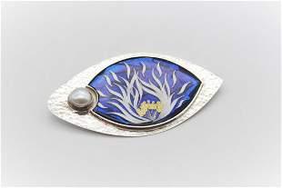 Silver Cloisonné Enamel, Pearl Brooch