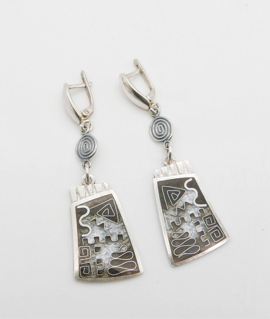 Silver Cloisonné Enamel Earring