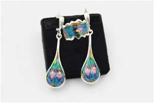 Silver Cloisonné Enamel Earring & Ring
