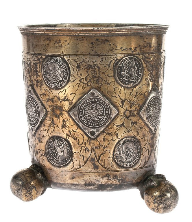 Silver cup with coins - 2