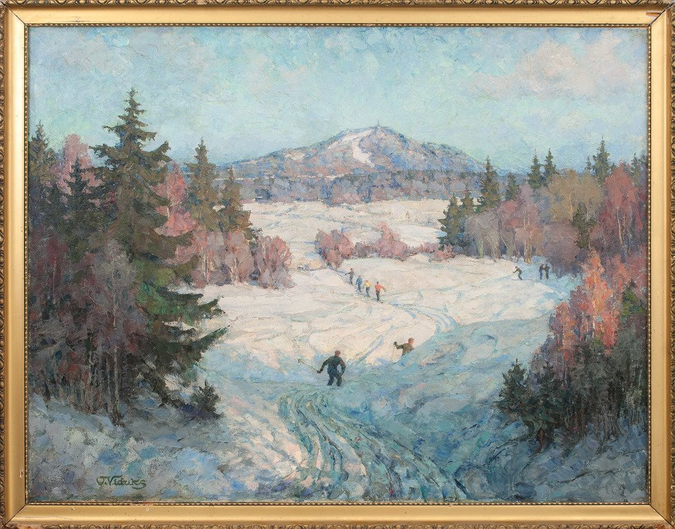 Skiers in winter, Oto Viduks