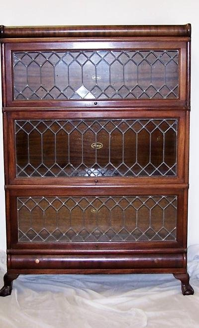 335: BURL MAHOGONY LAWYERS BOOKCASE WITH LEADED GLASS D