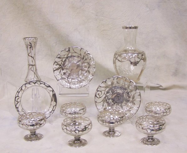 1010: Assorted lot of sterling silver overlay serving p