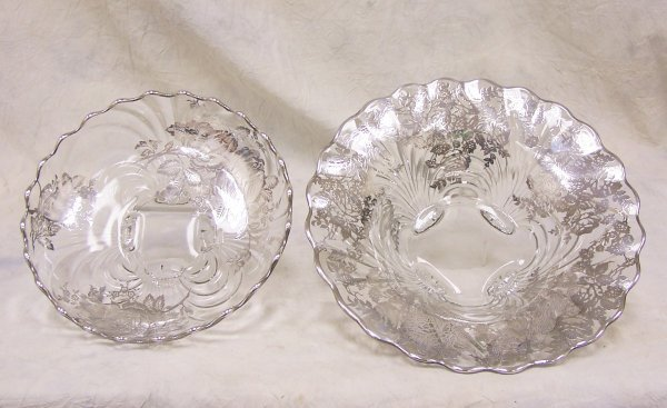 1011: Pair of 1930's sterling silver overlay bowls