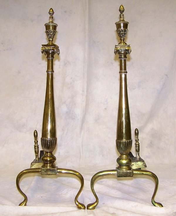 1015: Pair of early 19th Century brass And Irons from t