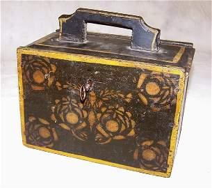 1077: Early 19th Century folk-art painted locking valua