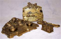1217: 19th Century gilt bronze French desk set signed A