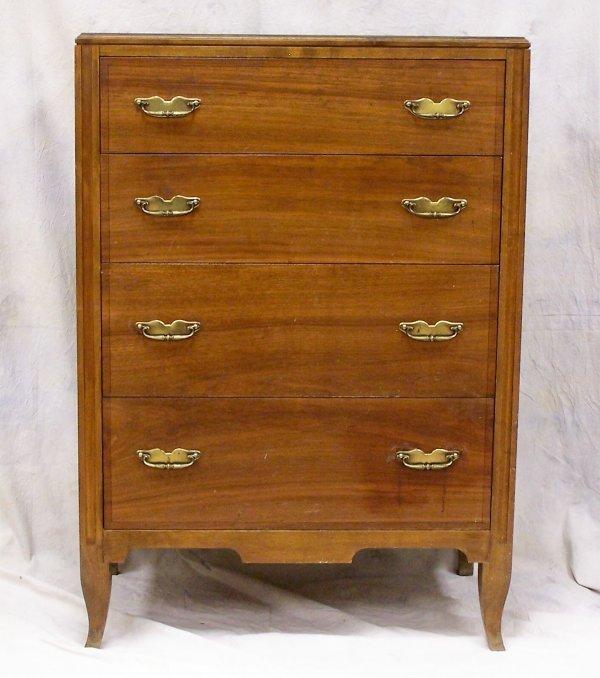 502: Mid Century Johnson Handley Walnut 4 drawer chest,