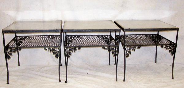 507: Set of 3 wrought iron end tables
