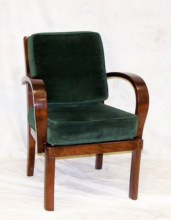 "511: Modern mahogany upholstered chair, measuring 32""h"