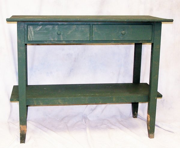 514: Green painted country single drawer kitchen work t