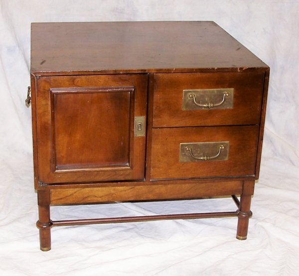 515: Mid Century hickory 2 drawer, 1 door side table, m