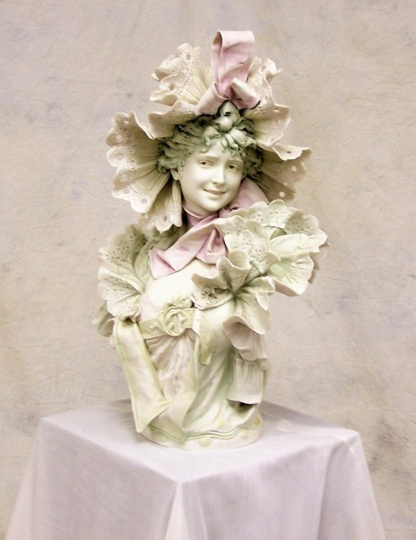 589: Victorian bisque polychrome porcelain bust of a yo