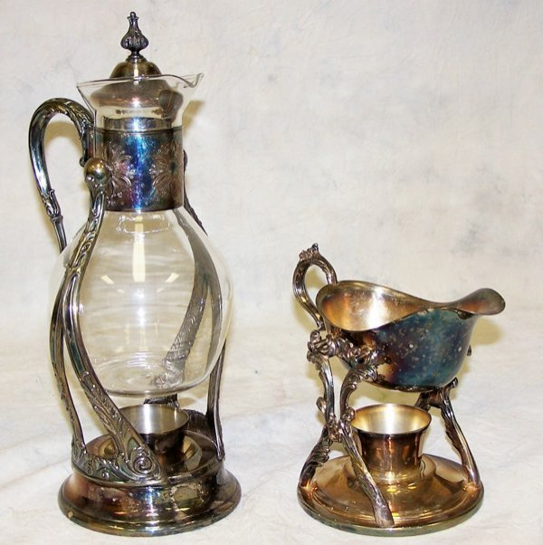 1: Lot including glass and silver carafe in stand, and